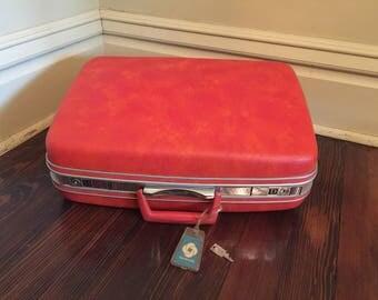 Vintage Samsonite Orange Hard Sided Suitcase with Key/Samsonite Tangerine/Vintage Orange Luggage