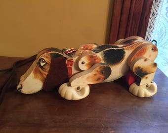 Vintage Fisher Price Snoopy Pull Toy/Fisher Price Beagle on Wheels
