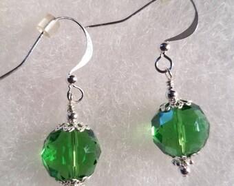 Sterling Silver Green Glass Crystal Earrings