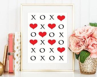 X O Print, XOXO, Heart Wall Decor, Gallery Wall Prints, XO Print, Heart Wall Art, Red Wall Decor, Modern Prints, XO Wall Art, Red Wall Art