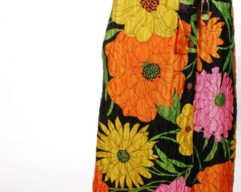 FREE US SHIPPING VIntage Floral Quilted Maxi Skirt