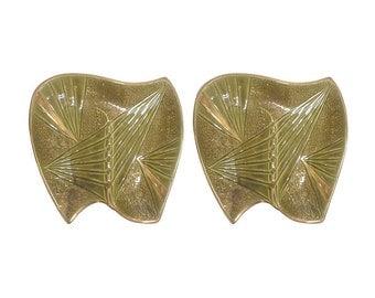Mid Century Olive Green Ceramic Boomerang Ashtrays-A Pair