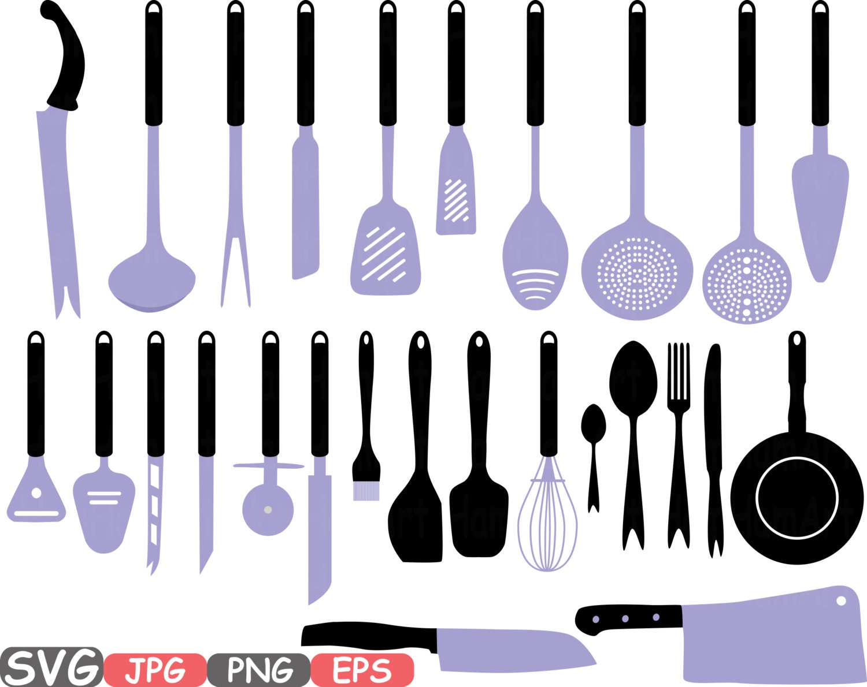 Kitchen svg kitchen utensils clipart restaurant clip art chef - Kitchen Svg File Cutting Files Cricut Cameo Kitchen Utensils Silhouette Svg Cooking Food Stickers Clipart Tools Clip Art 570s