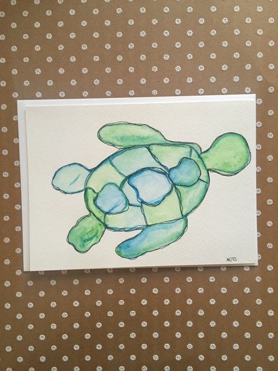 Turtle Card, Watercolor Turtle Card, Hand Painted Turtle Card, Homemade Turtle Card, Turtle Greeting Card