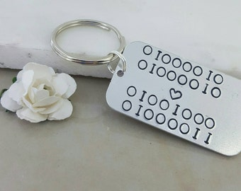 binary code key chain keyring love in binary geek present nerd gift novelty key chain robot computer text gift for geek  lightweight keyring