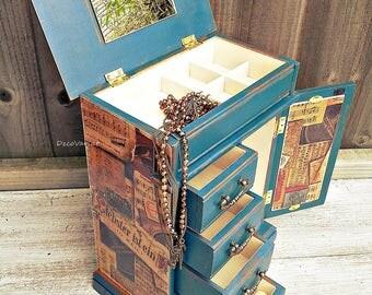 jewellery armoire vintage jewelry box jewelry drawers shabby chic jewelry box teal - Large Jewelry Armoire