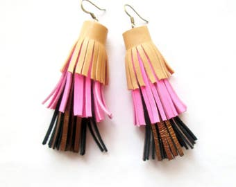 Leather Tassel Earrings Camel Pink Gold Tassel Earrings Leather Jewelry For Woman Gift Idea For Her Spring Summer Fashion