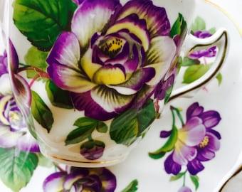 Rosina Purple Floral Tea Cup and Saucer