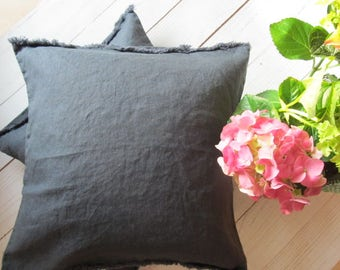 natural linen pillowcase, decorative covers,  pillow case, shams, cushion cover, softened linen,