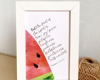 Christian Fruit of the Spirit Bible verse picture frame watermelon pink Sunday school nursery