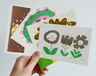 Risograph Postcard Pack, A6 - Floral