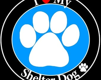Pet Gifts, I Love My Shelter Dog Car Magnet, Rescue Dogs