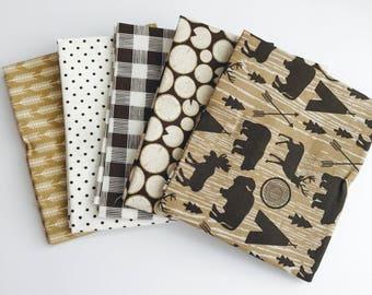 SALE!! Fat Quarter Bundle High Adventure by Designs by Dani for Riley Blake Designs- 5 Fabrics Brown