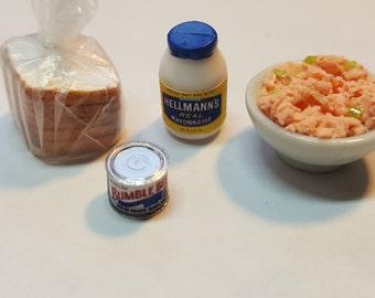 Miniature Tuna sandwich set dollhouse miniatures