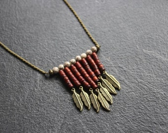 Necklace / necklace long ethnic Bohemian coco, bronze, charm feathers