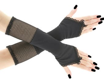 Black long fingerless gloves, lace arm warmers gothic burlesque bohemian black goth bridal lolita vampire gloves, womens evening gloves 0620