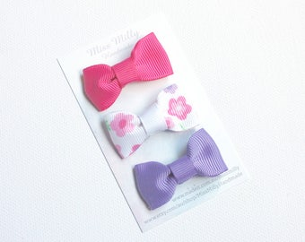 Baby Bow Snap Clips - Purple, White and Hot Pink