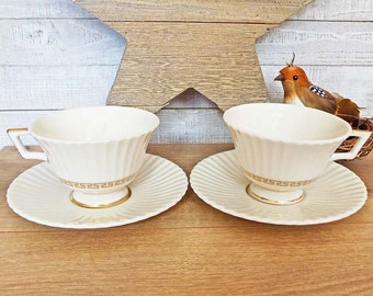 2 Lenox Cretan Footed Tea Cups & Saucers O316 - Fine Ivory China w/ Gold Greek Key - Retired 1985  - (4) Sets Available Compare at 40.00 USD