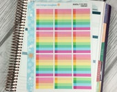 Rainbow To Do Boxes SHADOWED Stickers! 1 punched sheet, for your Erin Condren Life Planner, Plum Planner,  Filoflax, calendar