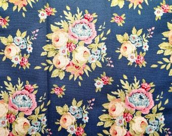 Fabric coupon TILDA Garden flowers blue, 50*36,50 cm,printed cotton