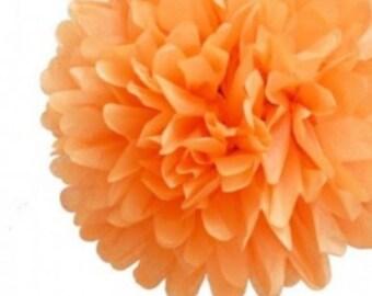 1 flower paper pompon, orange paper, 20 cm for celabration