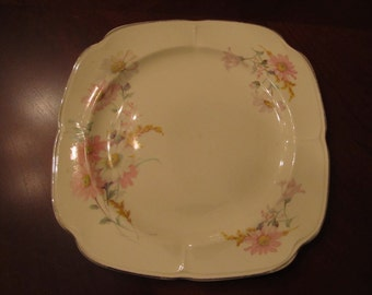 The Edwin M Knowles china comp. square lunchen/ salad plate 9 inches/ made in USA