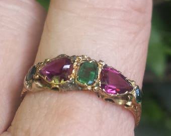 Victorian 1869 15k Gold Ring with Emeralds and Almandine Garnets , Heart Shaped