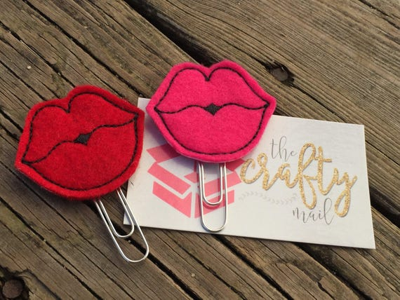 Kiss Me Lips Clip/Planner Clip/Bookmark. Your choice of red or pink. Valentine's planner clips
