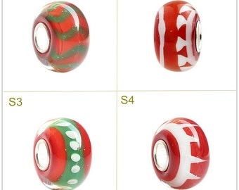 9.25 Silver Hole 4.5mm Lampwork Glass Beads Christmas Bead Fit European Charm Bracelets bracelets Big Hole Bead