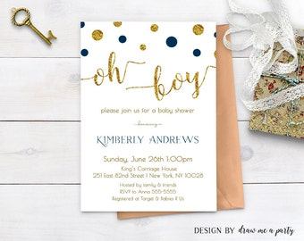 Oh Boy Navy Blue Baby Shower Invitation , Oh Boy Invitation , Blue and Gold Baby Shower Invitation , Printable , Personalized , JPEG or PDF