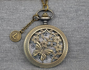 Butterfly Pocket Watch Antique Bronze Floral Watch Fob The Halloween Mens Womens Pocket Watch Pendant 46mm -for Hallowmas gifts -P659