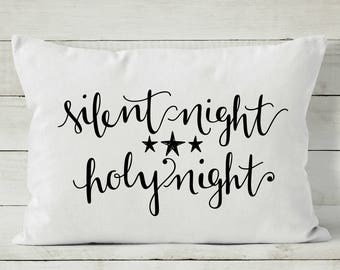 Silent Night Pillow - Christmas Pillow Cover - Holiday Pillow - Decorative Throw Pillow Cover
