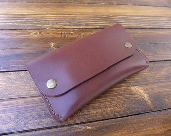Tobacco pouch, Leather tobacco pouch, Hand stitched