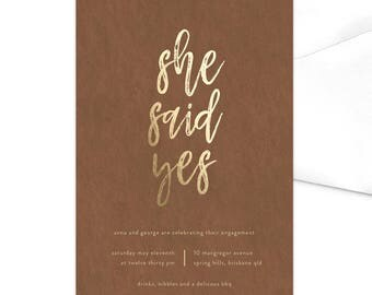 She Said Yes Engagement Party Invitation / Party Invitation / Engaged / Engagement Dinner / Engagement Announcement /