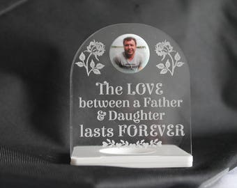 Father & Daughter / Son LOVE LASTS FOREVER Personalised Photo Memorial Tealight Holder