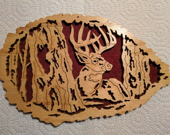 Scroll saw deer in the woods wall decoration