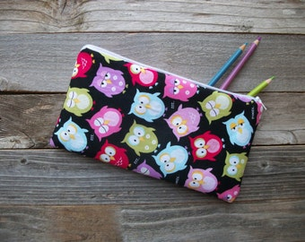 Owls Pencil Case, Make-up Bag, Zipper Pouch, Cotton, Padded, 5 x 10 inch