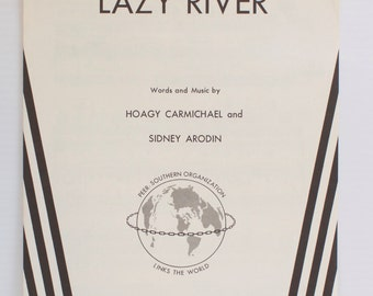 Vintage 1958 Lazy River Sheet Music by Hoagy Carmichael and Sidney Arodin