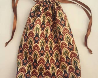 Pretty paisley, upholstery fabric, double drawstring bag