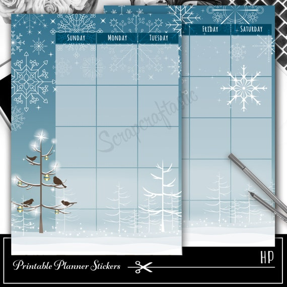 Winter Blue Monthly Planner Spread Printable Planner Sticker Overlay for classic size Mambi Happy Planner