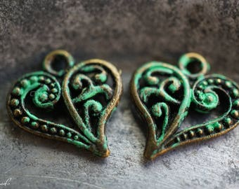 Patina Heart, Heart Charms, Patina Beads, Beads, N2303