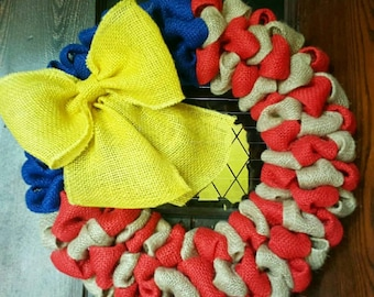 American Flag, Burlap Flag, Military, Mitary Wreath, Wreath, Yellow Ribbon,  Burlap Wreath with Yellow Bow
