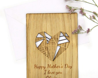 Personalised Wooden Happy Mothers Day Card, Unique Mother Day Gift, Cut Out, Oak, Gift for Mum, GEOMETRIC HEART