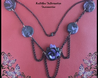 Gothic handmade necklace Purple Rose
