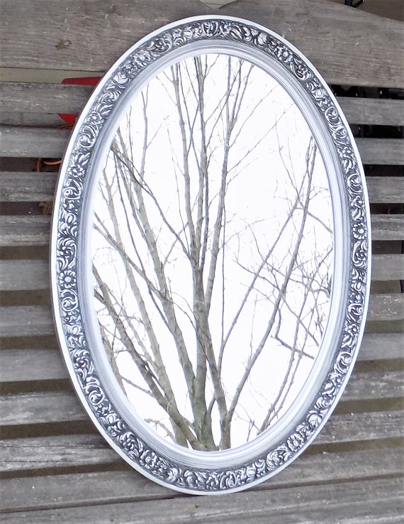 Oval Foyer Mirror : Oval framed mirror wall foyer antiqued silver