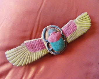 RARE Antique Solid Egyptian Amulet of Ancient Wing Beetle Scarab Collection With Hieroglyphics