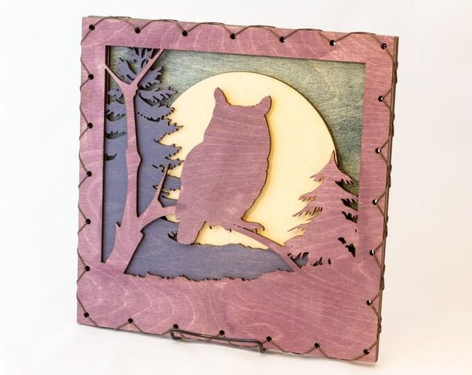 Owl Art - Owl Wall Decor - Raptor Home Decor - Owl Lover Gift - Owl Cabin Decor - Mountain Decor - Mountain Art