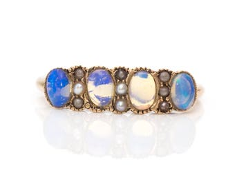 Circa 1890s Victorian 9kt Gold Ring ft. Vibrant Oval Moonstones & Seed Pearls, ATL #180C