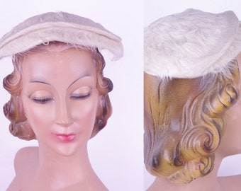 1950s White Feather (Half) Hat //Vintage Fascinator Hat Glamour Holiday