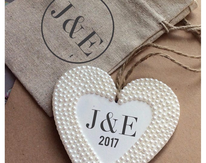 Personalised hanging heart with pearls | Any wording | wedding gift | Wooden heart | hanging hanging plaque with matching gift bag.